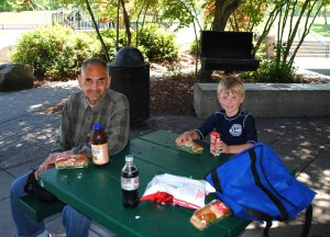 Ed & my grandson Rian at an impromptu park picnic,