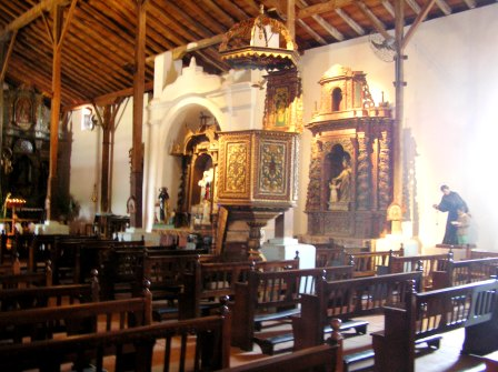 Inside Spanish colonial church at Parita