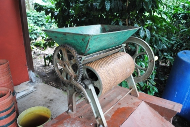 Pulpadora machine used to remove outer red cherry husk from coffee held out for personal use, Mountain Coffee Estate for sale, Boquete, Panama