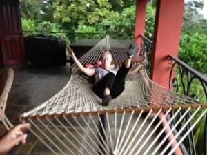 Helen tries out the hammock on our back terrace