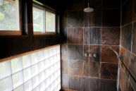 I wanted Master Bath shower to be as much like showering outside as possible with no curtains or glass doors to squeegee.