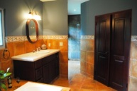 Master Bath and through those double doors are TWO walk-in closets! I love the no hassle walk in rain shower!