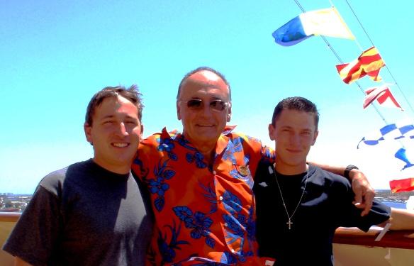 Happier times: Mario [L], me and Renato [R] on the ship in San Pedro