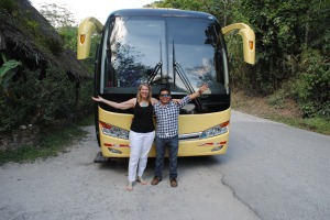 """Jackie & Jorge and the brand new motorcoach ... in the travel biz it is never a """"bus"""" but always a """"motorcoach"""""""